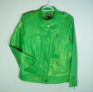 Berek linen jacket L green golden zip-up blazer